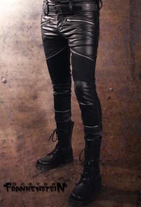 Black with Vinyl Details Rocker Pants