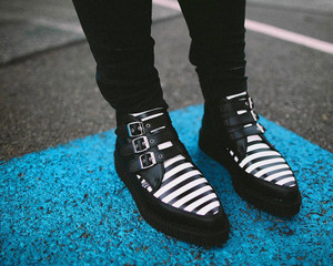 Black and White Striped 3-Buckle Platforms