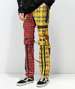 Men's Split Yellow and Red Plaid Bondage Pants