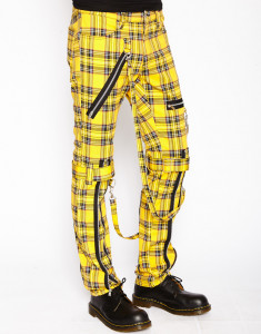 Men's Yellow Tartan Plaid Bondage Pants