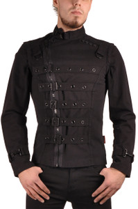 Black Mens Zip Off Bondage Jacket