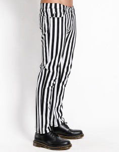 Men's Black and White Striped Rocker Jeans