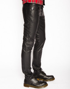 Men's Black Skinny Faux Leather Pants
