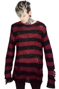 Freddy Krueger Black and Red Striped Knit Sweater