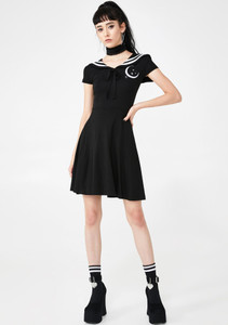 Japanese Uniform Style Skater Dress with Moon Detail