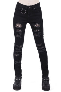 Trash Talk Distressed Black Jeans with Fishnets