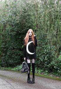 Moon Distressed Black Knit Sweater
