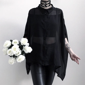 Starchild Batwing Sheer Black Blouse