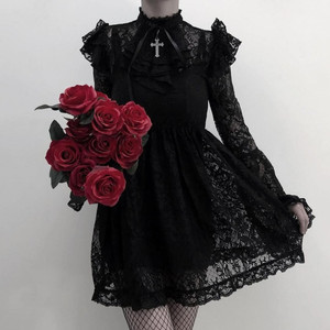 Gothic Victorian Lace Dress with Ruffled Collar