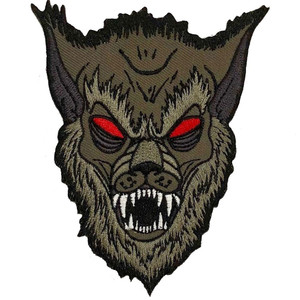 "Monster Grey Wolf 4x3"" Embroidered Patch"