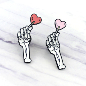 Skeleton Hand Holding Heart 2 Colors Enamel Pin