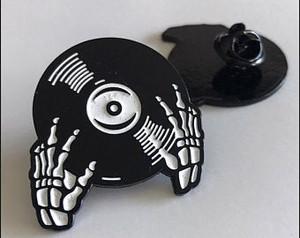 Black Vinyl Record with Skeleton Hands Enamel Pin
