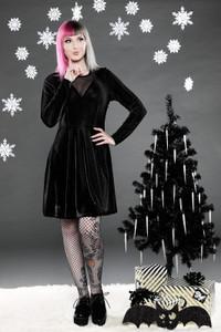 Black Velvet Long Sleeve Dress with Mesh V Neck