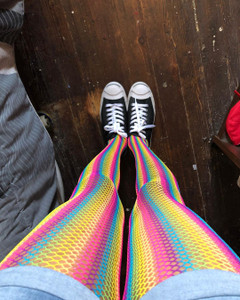 Pinkish Rainbow Fishnet Tights