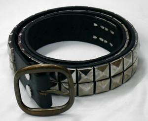 Black Leather Double Row Studded Belt