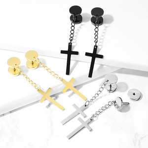 2x Cross on Chain Fake Ear Plug Piercing