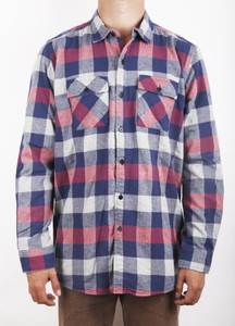 Blue, Red, Gray Plaid Long Sleeve Flannel Shirt