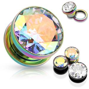 2x Holographic Crystal Metal Plug Piercing