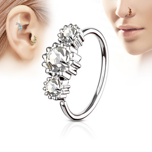 Flower Stone Silver Nose, Ear & Cartilage Hoop Ring
