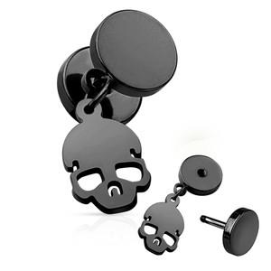2x Fake Plug Skull Dangle Earrings