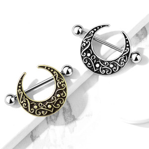 2x Crescent Moon Nipple Shield Ring Piercing