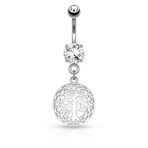 Round Tree of Life Dangle Belly Button Ring
