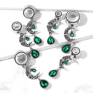 2x Crescent Moon with Emerald Dangle Ear Flesh Tunnel Plug Piercing Expansions