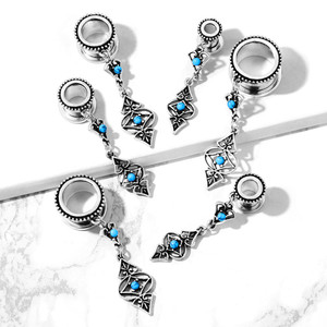 2x Turquoise Tribal Dangle Ear Flesh Tunnel Plug Piercing Expansions