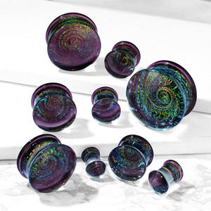 2x Double Flared Purple Galaxy Swirl Glass Plug Ear Expansions