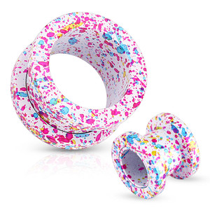 White Paint Splatter Screw Fit Tunnel Ear Expansion Plug