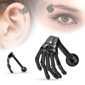 Skull Skeleton Hand Eyebrow and Cartilage Barbell Piercing