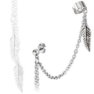 End Clip Feather Dangle with Stud Chain Earring