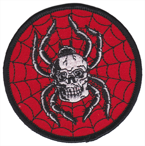 Red Circular Spider Skull Embroidered Patch