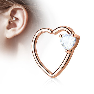 Heart on Heart Stone Cartilage / Daith Hoop Ring Piercing