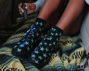 Black Glow in the Dark Starred Casbah type Booties