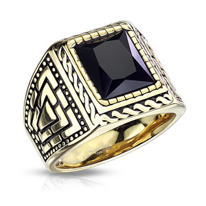 Stainless Steel Squared Onyx Gold Rope Ring