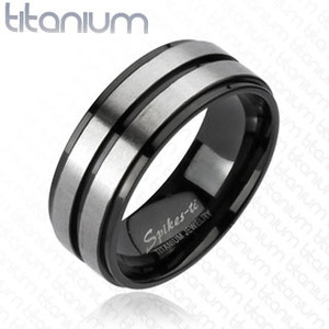 Double Striped Center Band Solid Brushed Titanium Ring