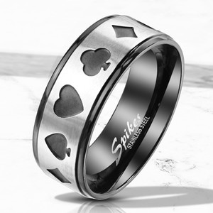 Poker Two Tone Black Stainless Steel Ring