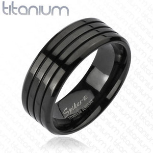 Multi Groove Black Band Ring