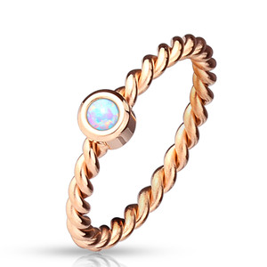 Opal Set Braided Rose Gold Stainless Steel Ring