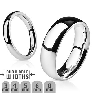 Glossy Mirror Polished  Stainless Steel Traditional Wedding Band Ring