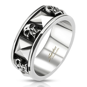 Pyramid Skeleton Skull Stainless Steel Ring