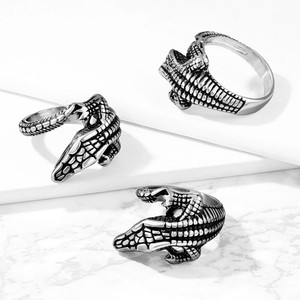 Alligator Wrapped Stainless Steel Ring