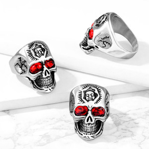Red Eyed Tribal Skeleton Skull Stainless Steel Ring