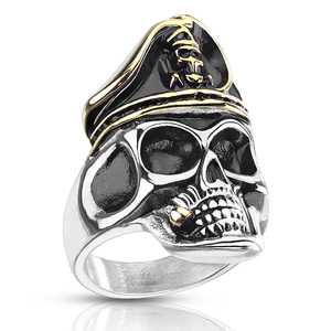 Stainless Steel Two Tone Skeleton Pirate Skull with Hat Ring