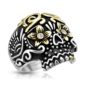 Sugar Skull Day of the Dead Gold Flowered Eyes Stainless Steel Casting Ring