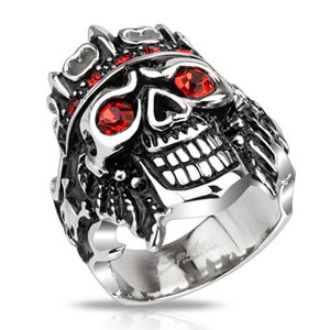 Skeleton Skull Pirate King with Red Cubic Zirconia Wide Cast Stainless Steel Ring