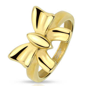 Gold Ribbon Stainless Steel Ring