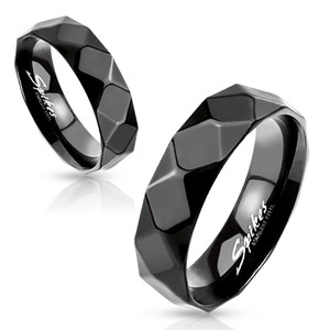 Diamond Faceted Black Stainless Steel Ring