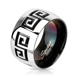 Groovy Two Tone Maze Stainless Steel Ring
